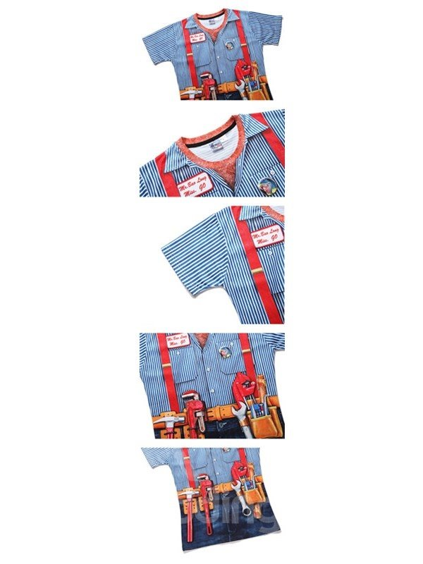 Blue Stripe with Denim Shorts Unisex Casual 3D Pattern T-Shirt