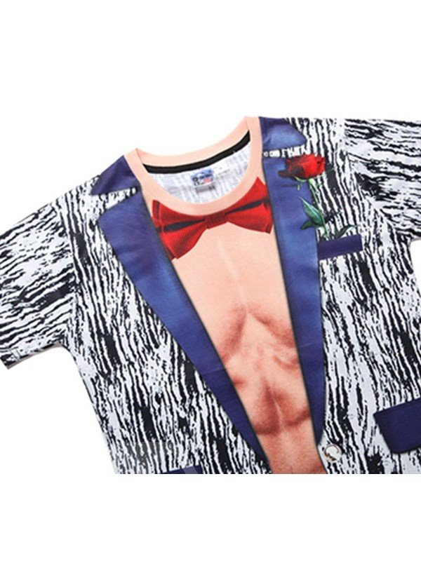 Muscle with Red Bowknot Printing Polyester Casual Men's 3D T-Shirts