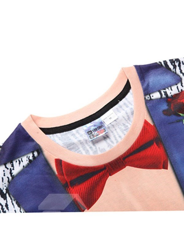 Muscle with Red Bowknot Printing Polyester Casual Men