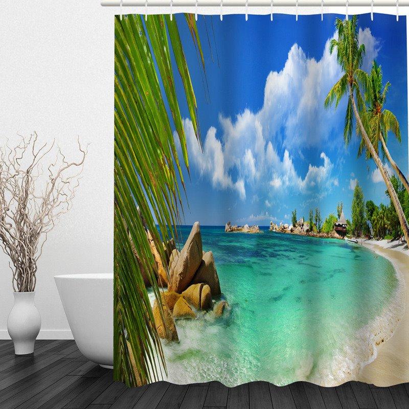 Wonderful Beach Scenery 3D Printed Bathroom Waterproof Shower Curtain