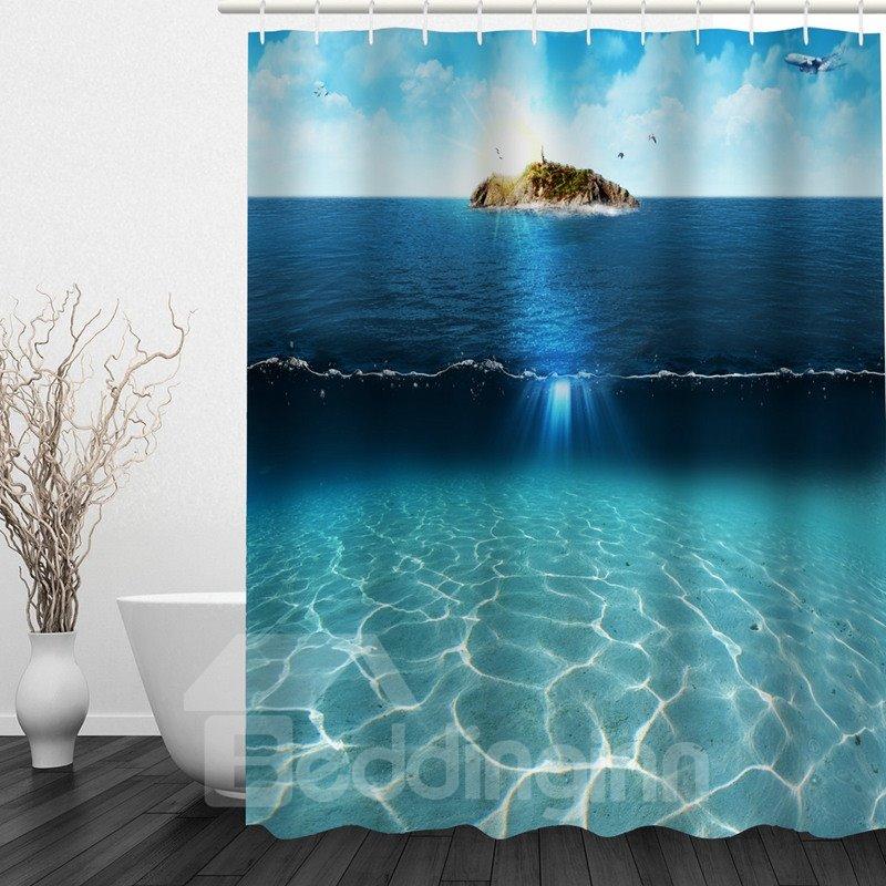 Aesthetic Sea and Sky 3D Printed Bathroom Waterproof Shower Curtain