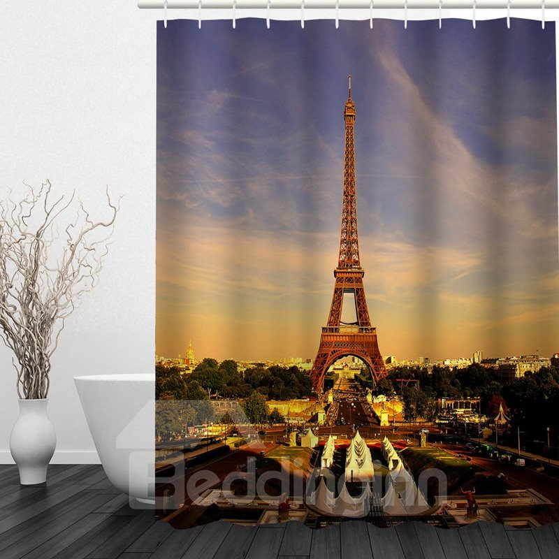 Eiffel Tower at Dusk 3D Printed Bathroom Waterproof Shower Curtain