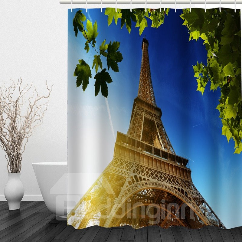 Picturesque Eiffel Tower 3D Printed Bathroom Waterproof Shower Curtain