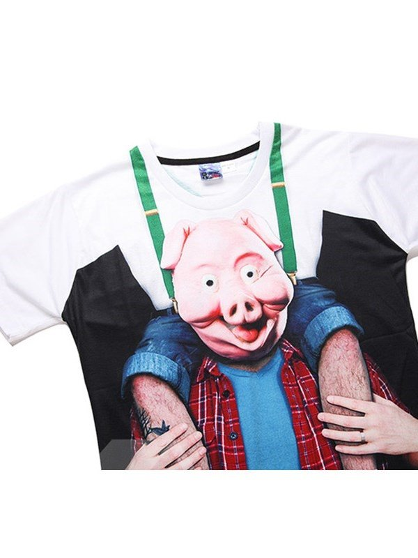 Pink Pig Printing Polyester Round Neck Casual Men's 3D T-Shirts
