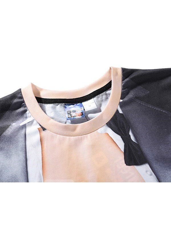 Black Muscle Printing Polyester Round Neck Men