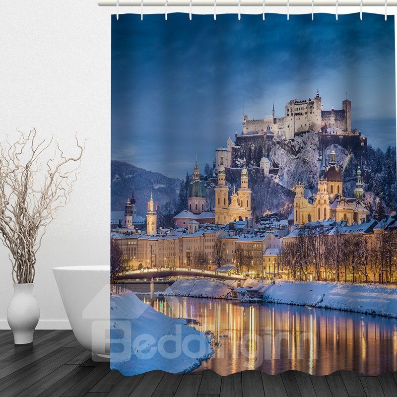 Magnificent Palace by the Water 3D Printed Bathroom Waterproof Shower Curtain