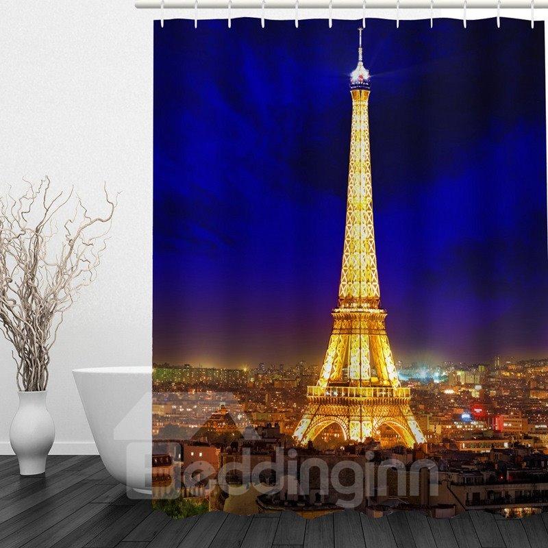 Romantic Paris Night 3D Printed Bathroom Waterproof Shower Curtain