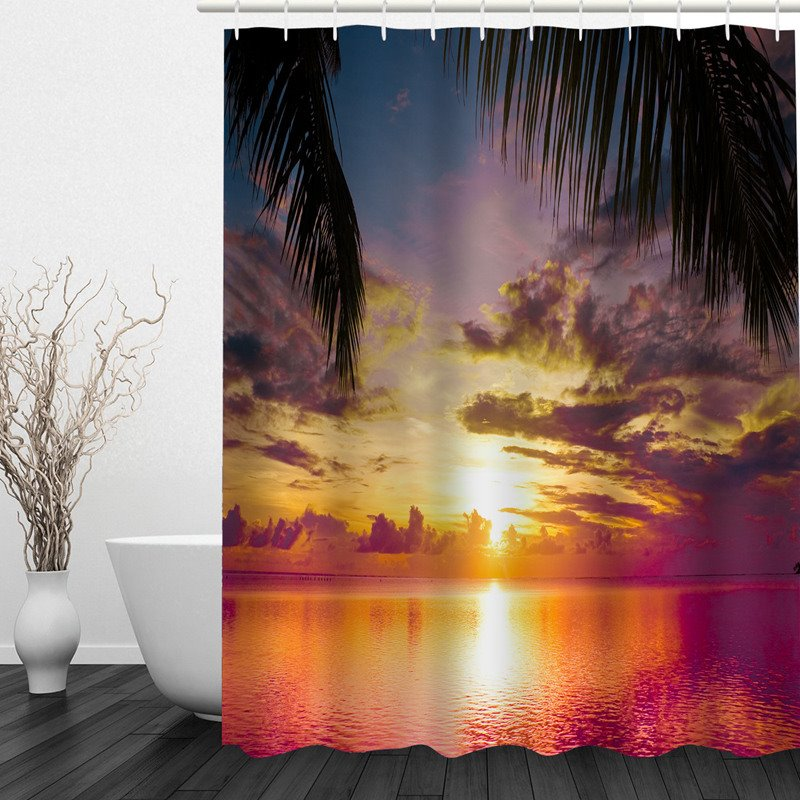 Beautiful Sea in the Sunset 3D Printed Bathroom Waterproof Shower Curtain