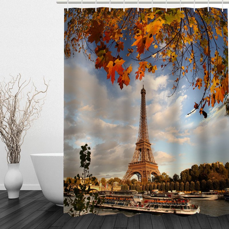 3D Eiffel Tower in Fall Printed Bathroom Shower Curtain