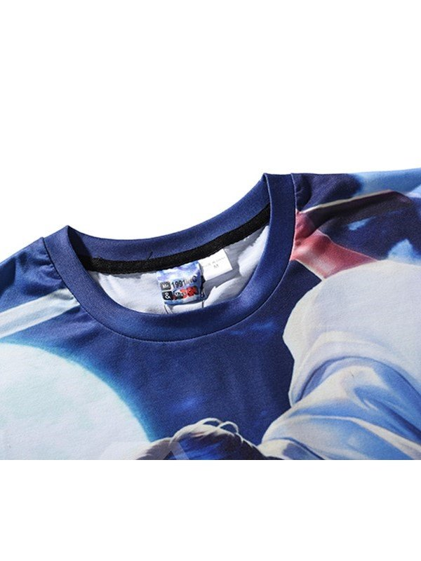 Cartoon Characters Printing Polyester Round Neck Sports Men