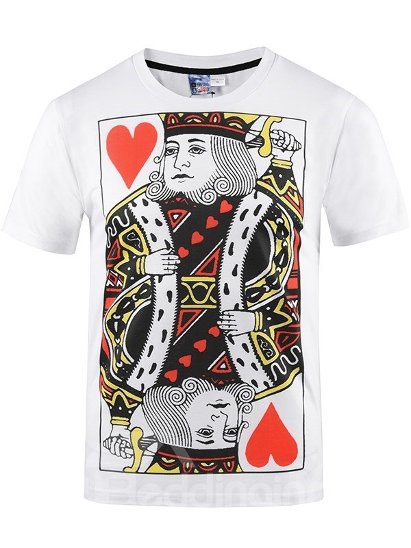 White Poker K Printing Polyester Round Neck Men