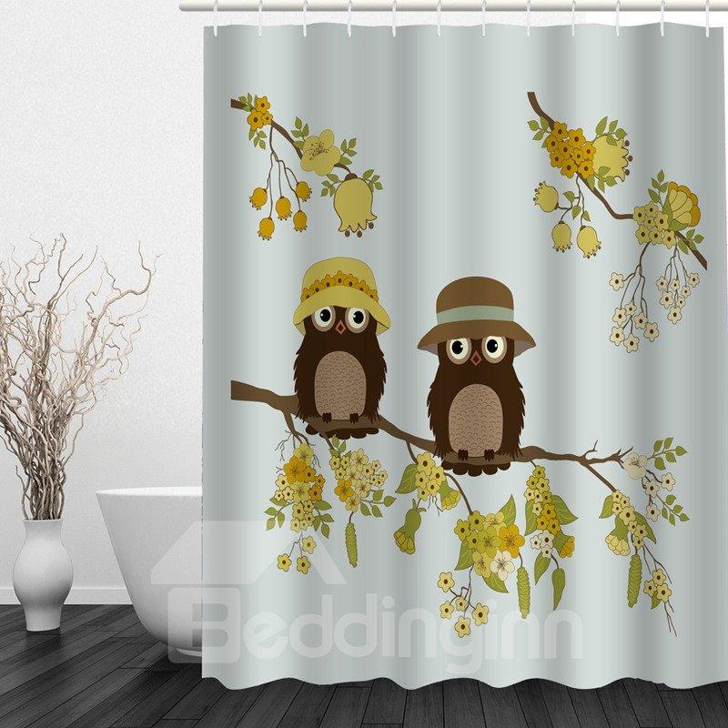Cute Cartoon Owl Lover in Fall 3D Printed Bathroom Waterproof Shower Curtain