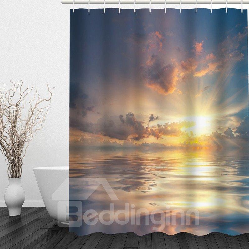 Sea in the Sun 3D Printed Bathroom Waterproof Shower Curtain