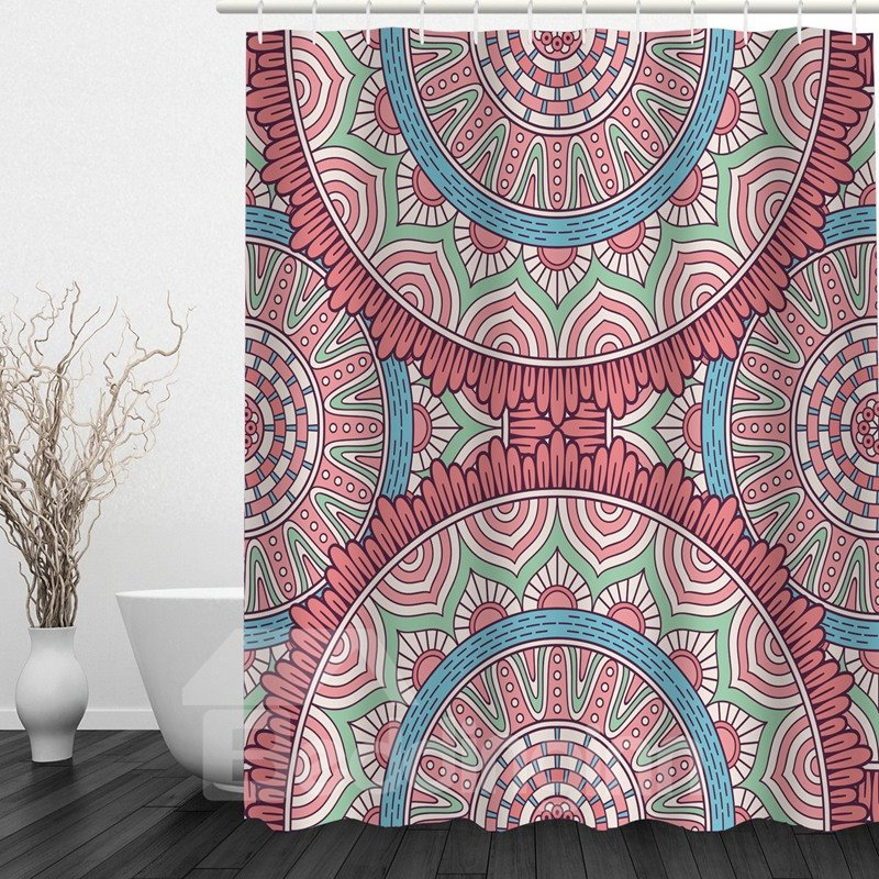 Cute Gear 3D Printed Bathroom Waterproof Shower Curtain