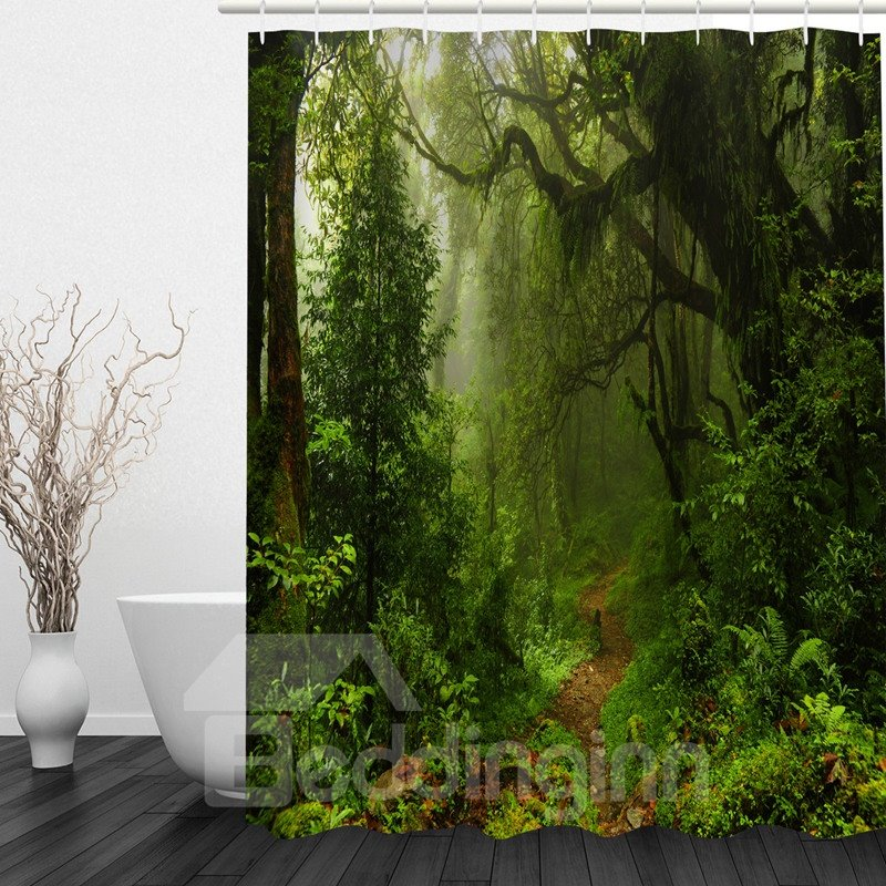 Green Jungle 3D Printed Bathroom Waterproof Shower Curtain