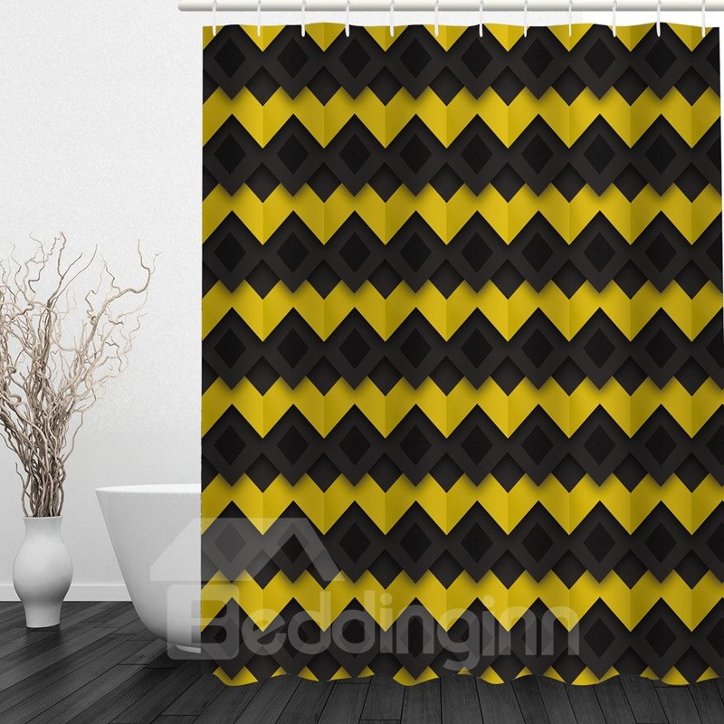 Black and Yellow Chevron 3D Printed Bathroom Waterproof Shower Curtain