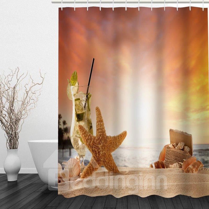 Starfish 3D Printed Bathroom Waterproof Shower Curtain