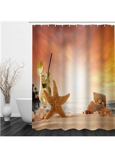 Starfish 3D Printed Bathroom Waterproof Shower Curtain
