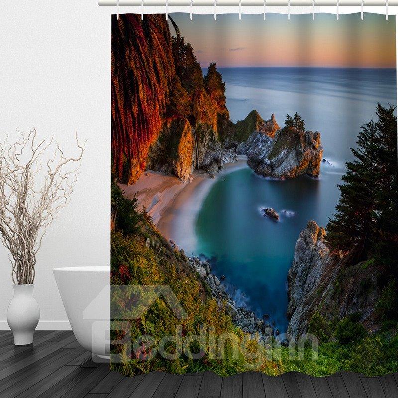Beautiful Seaside Scenery 3D Printed Bathroom Waterproof Shower Curtain