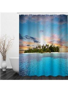 Island on the Sea 3D Printed Bathroom Shower Curtain