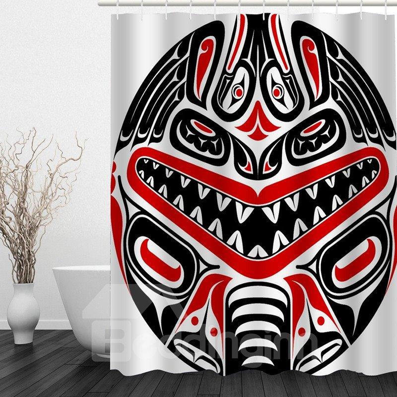 Designer Mask 3D Printed Bathroom Waterproof Shower Curtain
