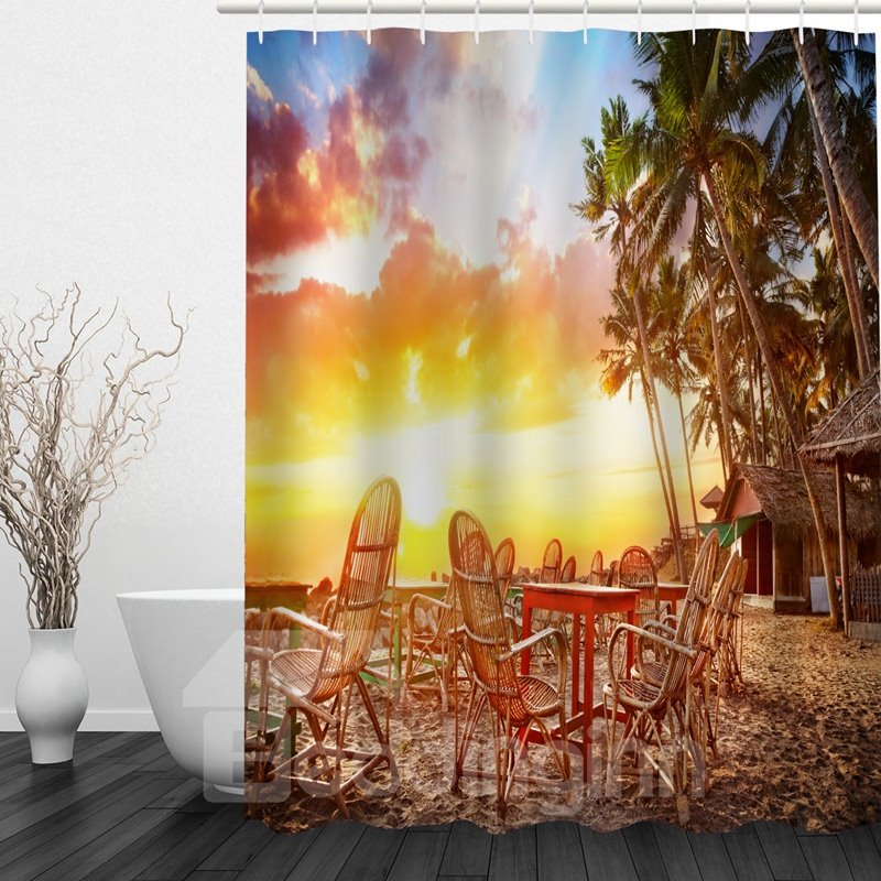 American Countryside at Dusk 3D Printed Bathroom Waterproof Shower Curtain