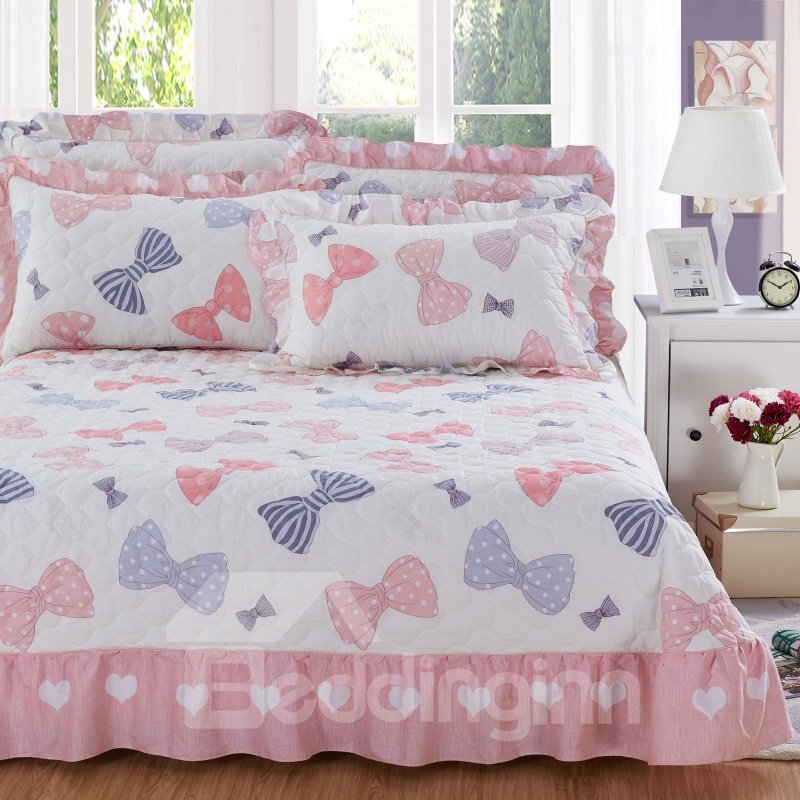 Princess Style Bowknot Print Soft Cotton 3-Piece Bed Skirts