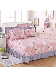 Princess Style White Magnolia Print Cotton Bed in a Bag