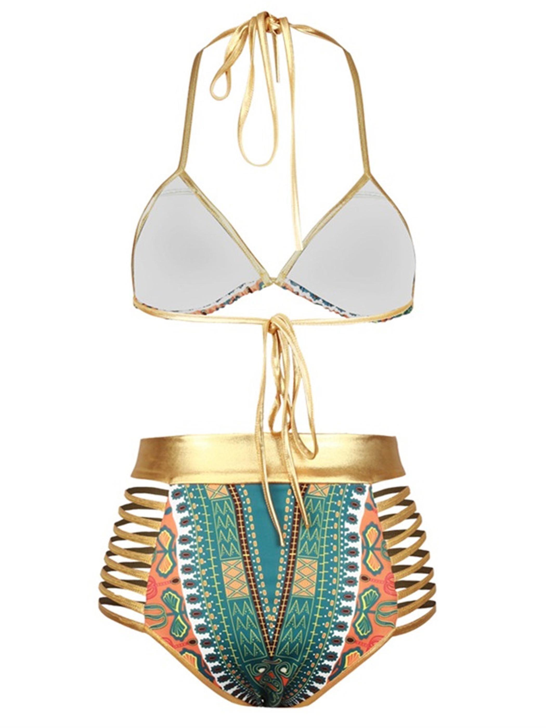 Bohemia Push Up Padded Lace Up High-Waisted Light Green Bikini 3D Swimwear