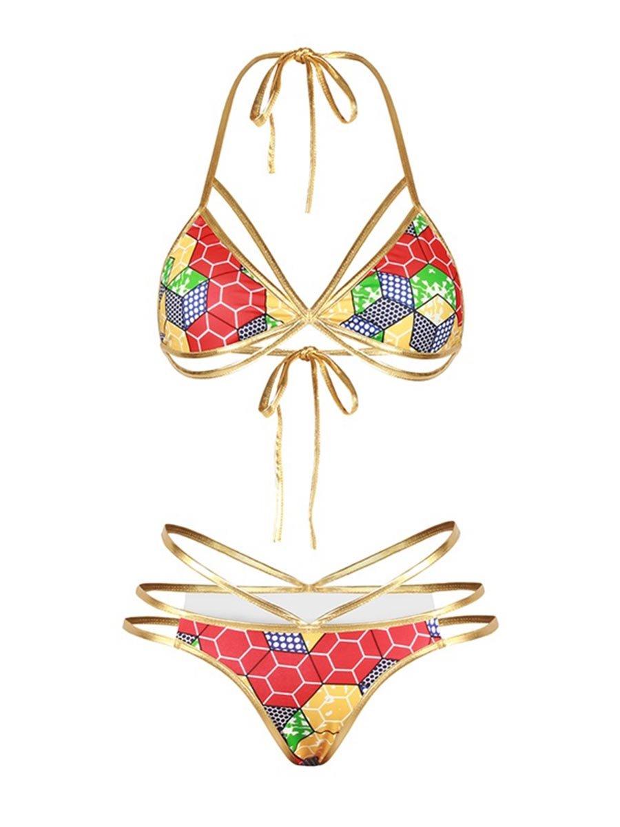 Colorful Grid Push Up Padded Lace Up Low-Waisted Bikini 3D Swimwear