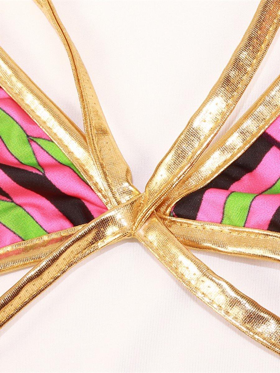 Pink Stripe Push Up Padded Lace Up Low-Waisted Bikini 3D Swimwear