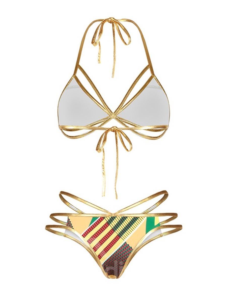 Light Stripe Push Up Padded Lace Up Low-Waisted Bikini 3D Swimwear