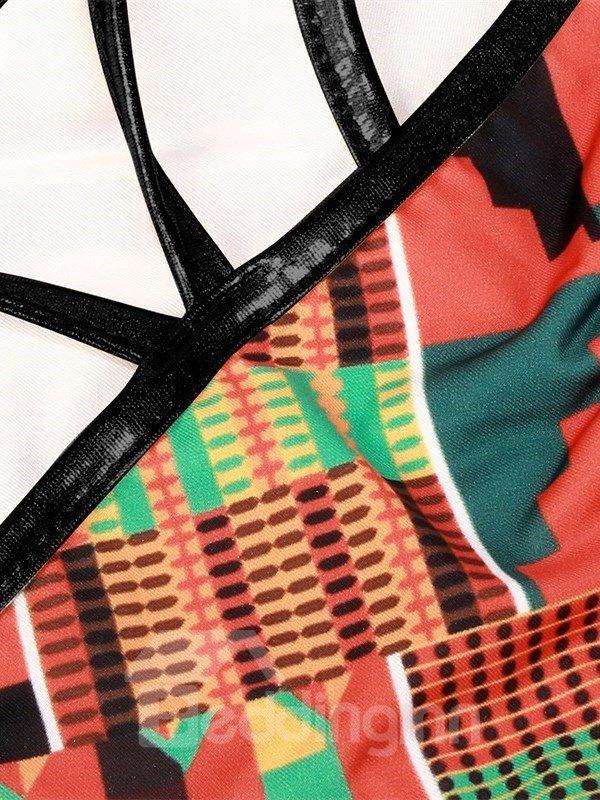 Bohemia Push Up Padded Lace Up Low-Waisted Orange Bikini 3D Swimwear