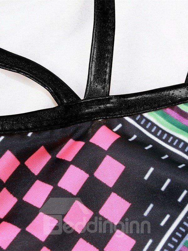 Bohemia Push Up Padded Lace Up Low-Waisted Black Bikini 3D Swimwear