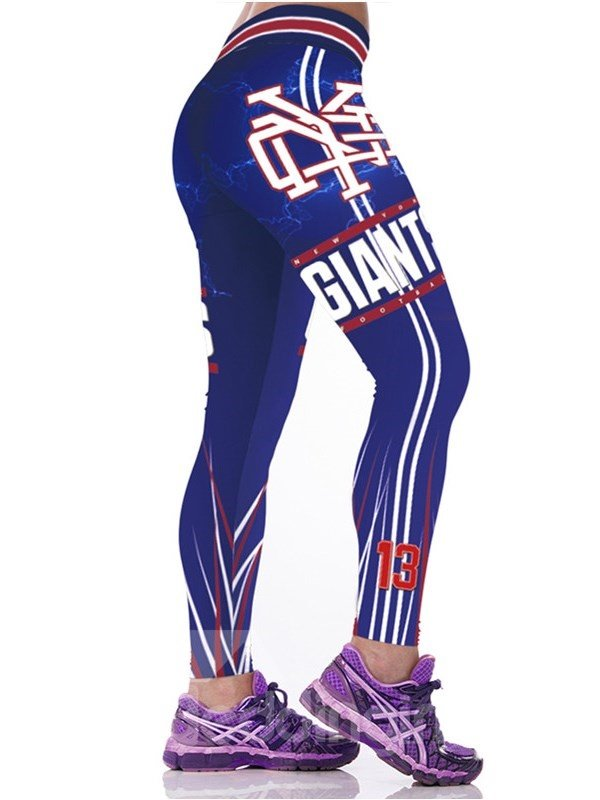 Number Printed Purple Women's 3D Leggings