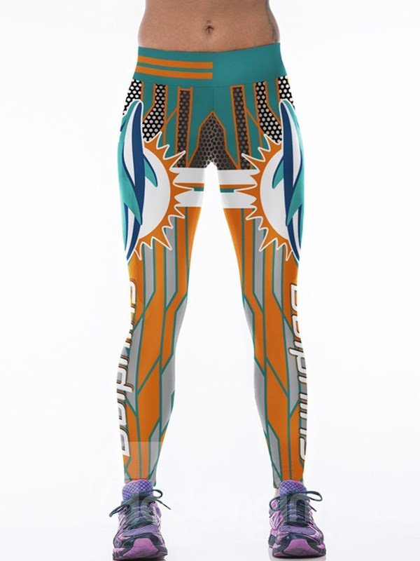 Colorful Stripes Printed Polyester Female 3D Leggings