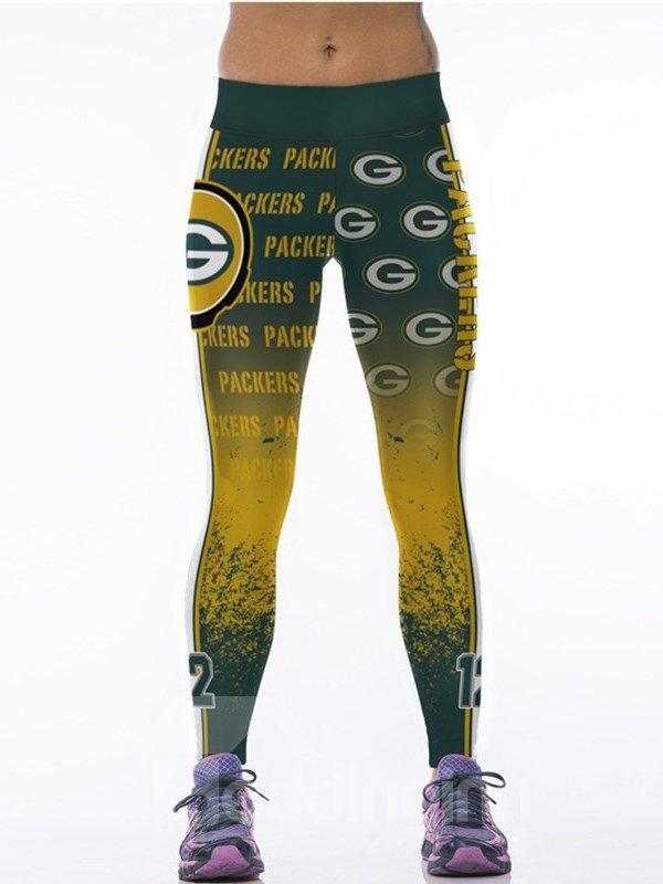 Sporty Style Gradient Green Letter Printed Polyester Elastic Waist Female 3D Leggings