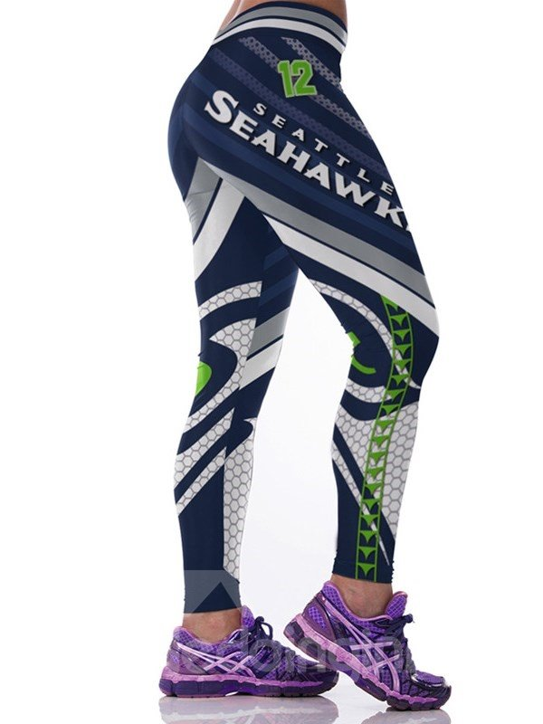 Sporty Style Stripe and Grid Pattern Polyester Jogging Female 3D Leggings