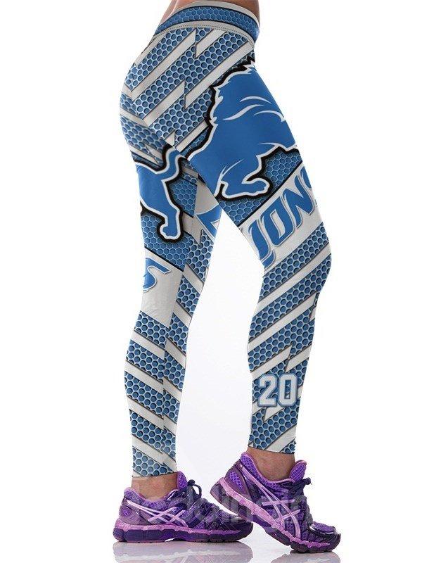 Casual Style Lion Printed Blue Elastic Waist Female 3D Leggings