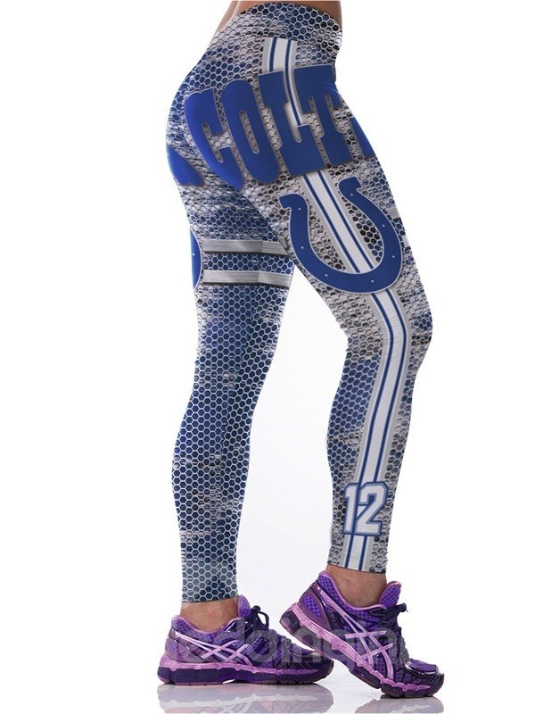 Sporty Style Gradient Color Grid Letters Printed Polyester Elastic Waist Female 3D Leggings