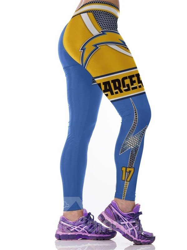 Color Blocking Letters Printed Elastic Waist Fitness Female 3D Leggings