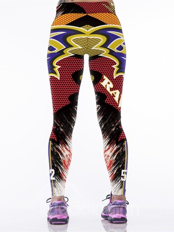 Eagle Printed Colorful Polyester Yoga Sport Female 3D Leggings