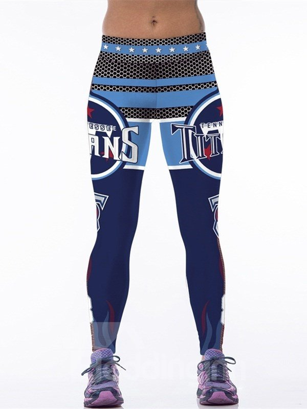 Blue Letters with Stripes Printed Polyester Female 3D Leggings
