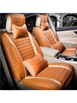 Beautiful in Colors Modern Plaid Genuine Leather Universal Car Seat Cover