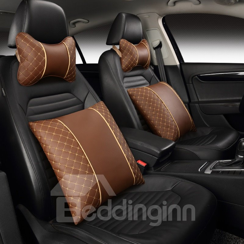 Pretty and Colorful Luxurious Printing Genuine Leather Car Pillow