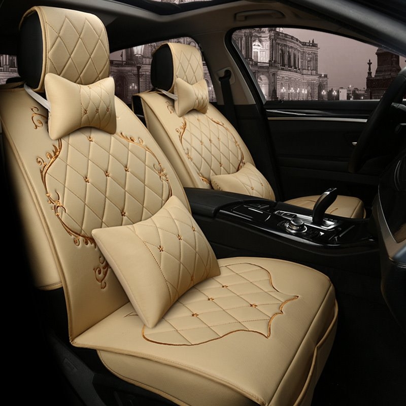 Colorful Modern Princess wind Genuine Leather Universal Car Seat Cover