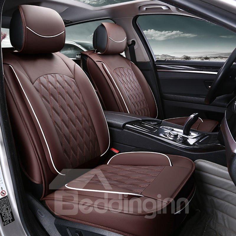 Colorful Elegant Shape Plaid Genuine Leather Universal Car Seat Cover