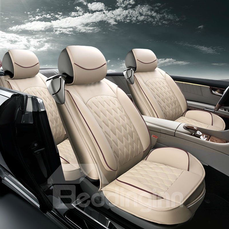 Color Brilliancy Luxurious Plaid Genuine Leather Universal Car Seat Cover