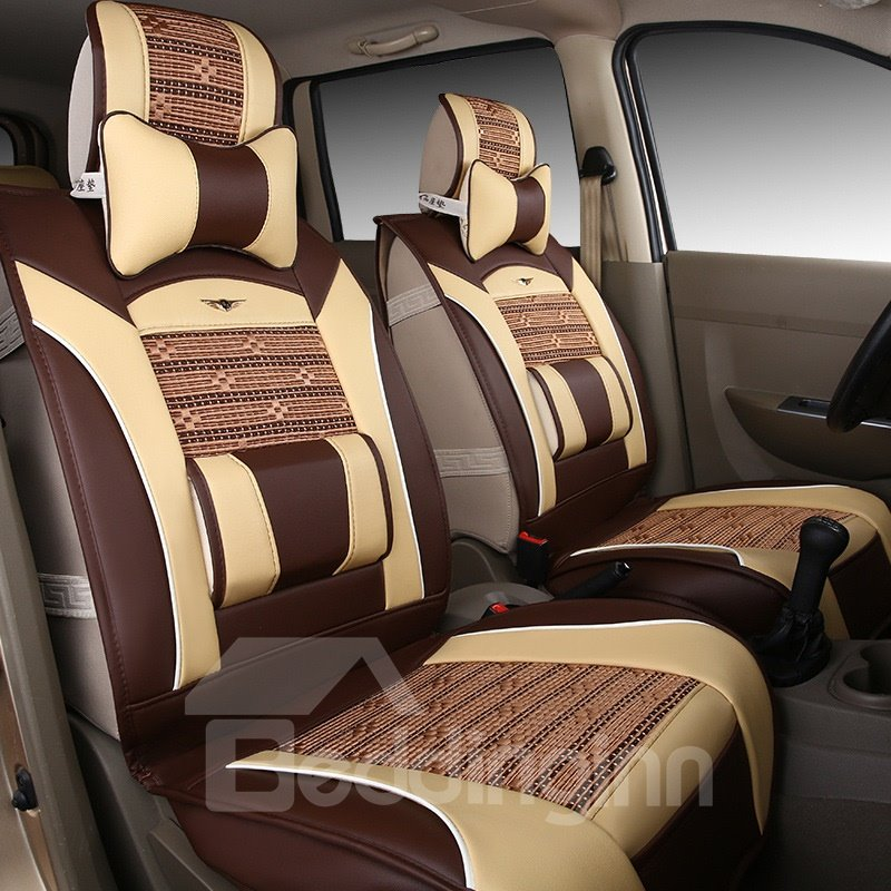 Colorful Beautiful Design Striped Ice Silk And Rayon Designed for 7 Seats Car Seat Cover