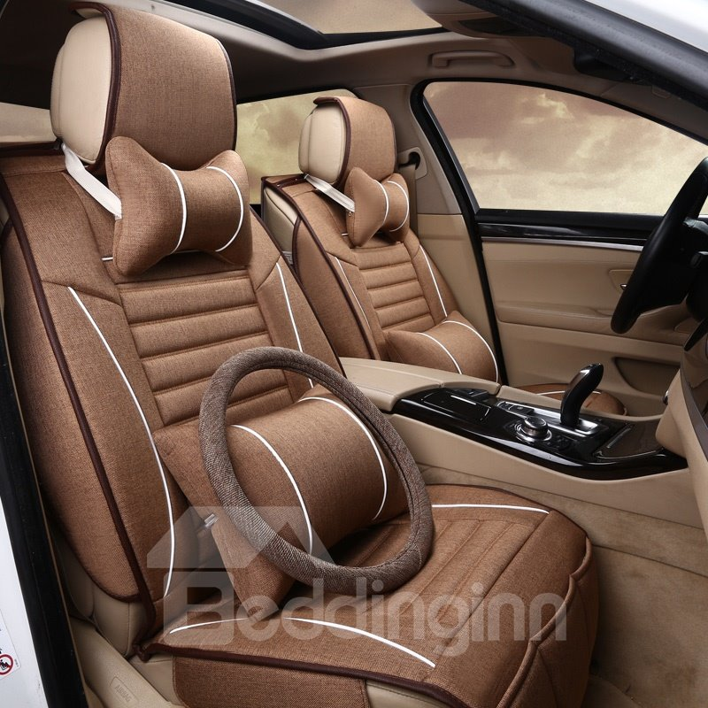 Delicate Colors Modern Striped Flax And Natural Fibers Universal Car Seat Cover